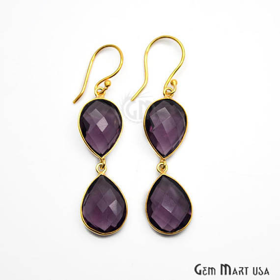 Amethyst Bezel Pears Shape Gold Plated 40x12mm Dangle Hook Earring (AMER-90186)