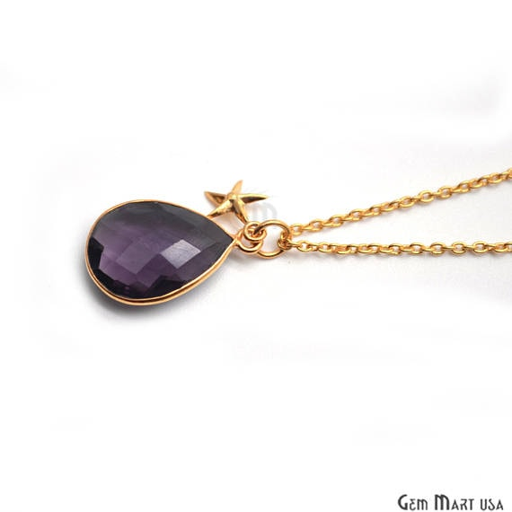 Amethyst Bezel Necklace with 24k Gold Plated Star Charm Chain Pendant, 10x7mm Gold Plated Necklace Pendant 1pc (AMNC-16001)