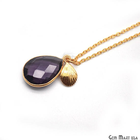 Amethyst Bezel Necklace with 24k Gold Plated Charm Chain Pendant, 20x13mm Gold Plated Necklace Pendant