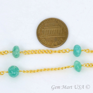 Chrysoprase Gold Plated Wire Wrapped Rondelle Beads Rosary Chain