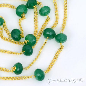 Green Onyx Gold Plated Rondelle Beads Rosary Chain