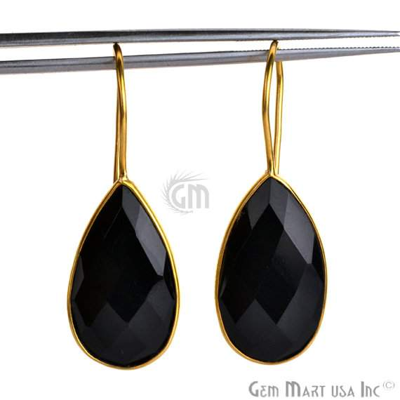 24k gold plated Black Onyx Smooth 23x13mm Bezel Pears shape Connector Earring (BOER-90023)