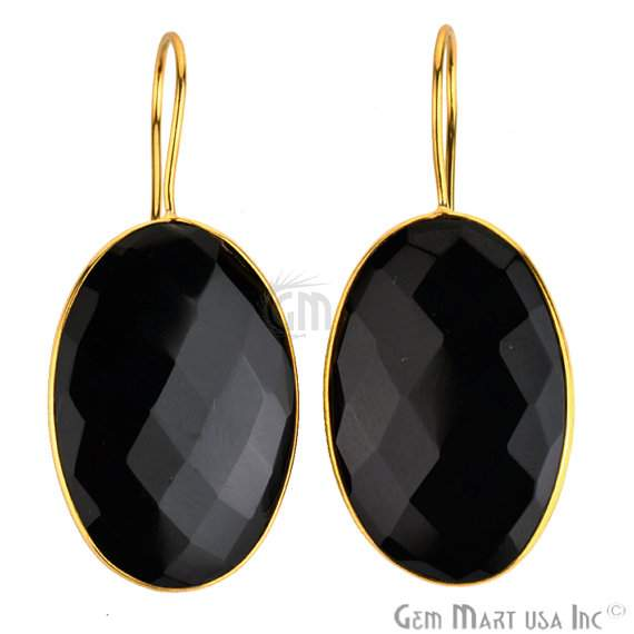 Beautiful Handmade 24k gold plated Black Onyx Smooth 31x21mm Bezel Oval shape Connector Earring (BOER-90024)