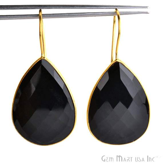 Black Onyx Smooth 24k gold plated 31x21mm Bezel Pears shape Connector Earring (BOER-90025)