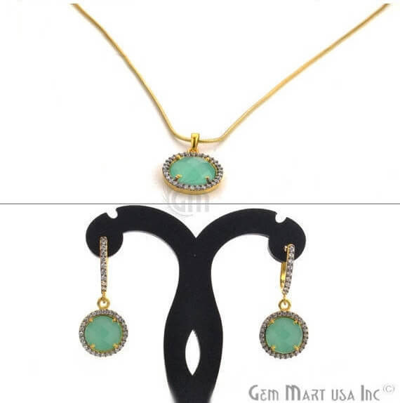 Aqua Chalcedony & Cubic Zirconia Pave Round Shape 12-10mm Gold Plated Necklace Chain Pendant With Earring
