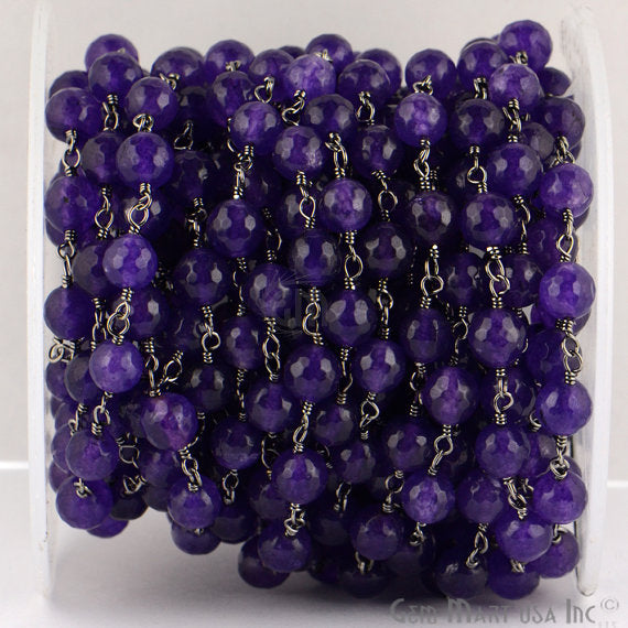 Amethyst Jade Beads Chain, Black Plated wire wrapped Rosary Chain, Jewelry Making Supplies (BPAJ-30013)