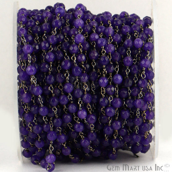 Amethyst Jade Beads Chain, Black Plated wire wrapped Rosary Chain, Jewelry Making Supplies (BPAJ-30017)