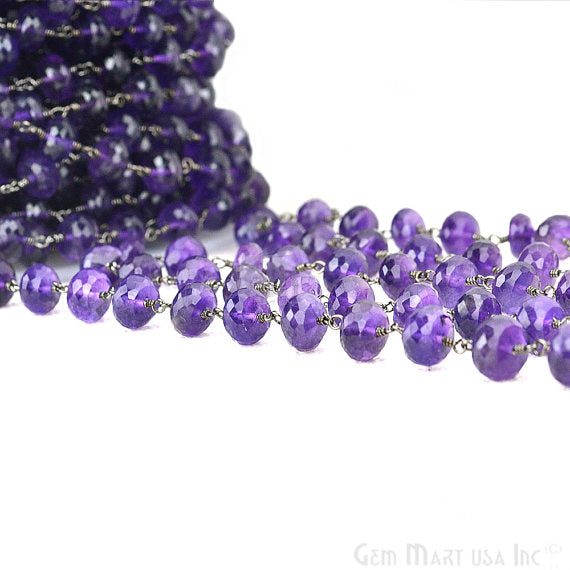 Amethyst Beads Chain, Black Plated wire wrapped Rosary Chain, Jewelry Making Supplies (BPAM-30039)