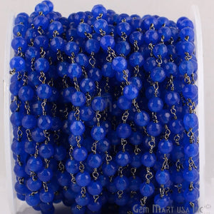 Blue Jade 6mm Beads Oxidized Wire Wrapped Rosary Chain - GemMartUSA