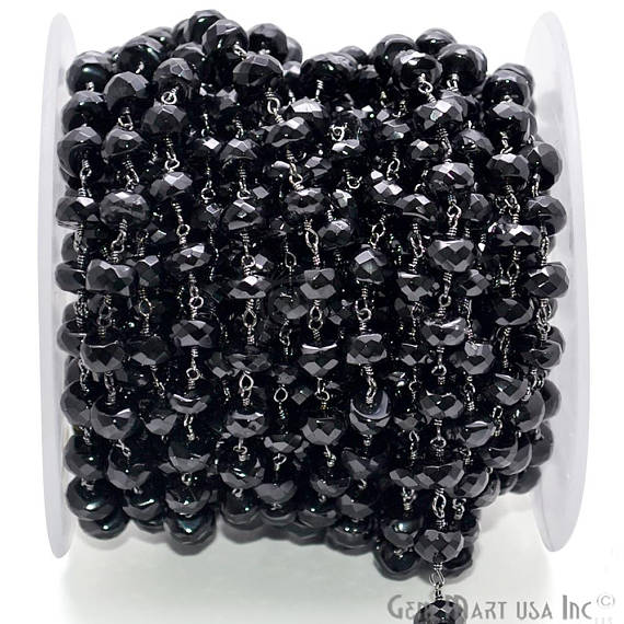 Black Spinel Rondelle Beads Chain, Black Plated wire wrapped Rosary Chain, Jewelry Making Supplies (BPBS-30035)