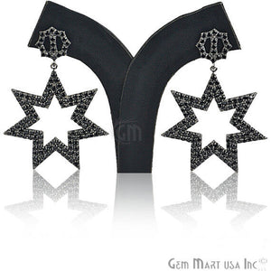 Black Plated Studded With Micro Pave Black Spinel 58x34mm Dangle Earring
