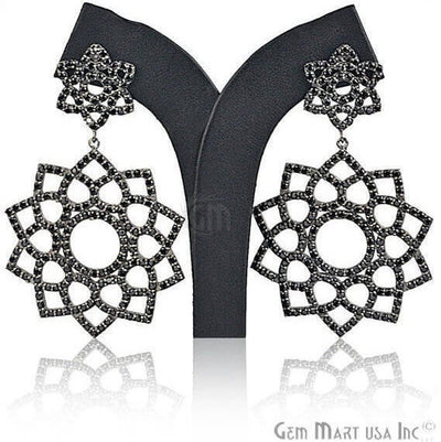 Black Plated Studded With Micro Pave Black Spinel 76x41mm Dangle Earring