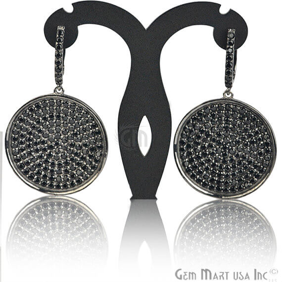 Black Plated Studded With Micro Pave Black Spinel 52x31mm Dangle Earring