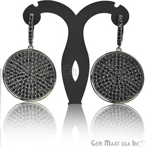 Black Plated Studded With Micro Pave Black Spinel 52x31mm Dangle Earring - GemMartUSA