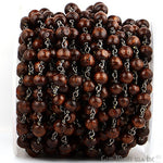 Wooden Beads 7-8mm Beads Chain, Black Plated wire wrapped Rosary Chain, Jewelry Making Supplies (BPBW-30035)