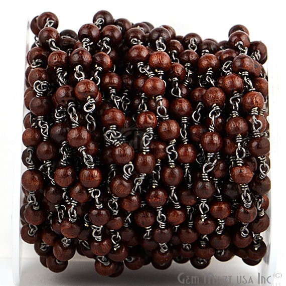 Wooden Beads 6-7mm Beads Chain, Black Plated wire wrapped Rosary Chain, Jewelry Making Supplies (BPBW-30036)
