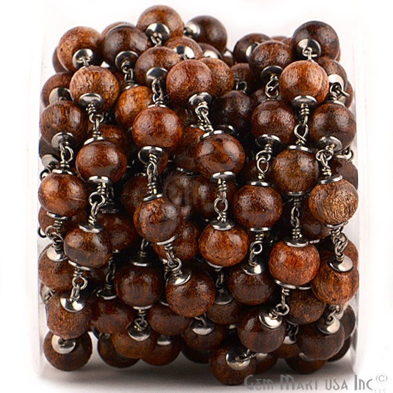 Coco Brown Wooden Beads 12-13mm Beads Chain, Black Plated wire wrapped Rosary Chain, Jewelry Making Supplies (BPCB-30033)