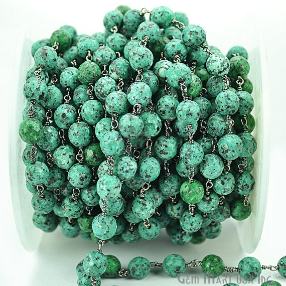 Chrysocolla Rondelle 7-8mm Beads Chain, Black Plated wire wrapped Rosary Chain, Jewelry Making Supplies (BPCH-30035)