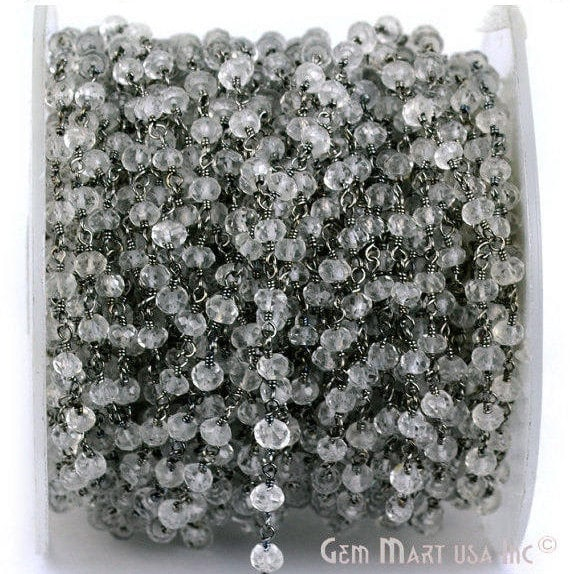 Crystal 3-35mm Beads Chain, Black Plated wire wrapped Rosary Chain, Jewelry Making Supplies (BPCL-30002)