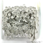 Crystal Briolette 8x5mm Beads Chain, Black Plated wire wrapped Rosary Chain, Jewelry Making Supplies (BPCL-30072)