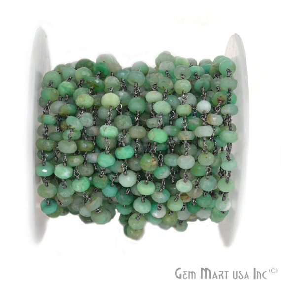Chrysoprase 6-7mm Beads Chain, Black Plated wire wrapped Rosary Chain, Jewelry Making Supplies (BPCP-30036)