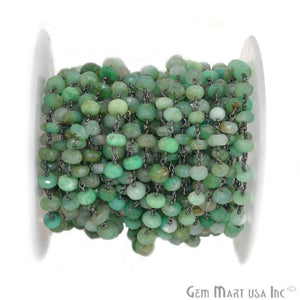 Chrysoprase 6-7mm Beads Chain, Oxidized Wire Wrapped Rosary Chain - GemMartUSA