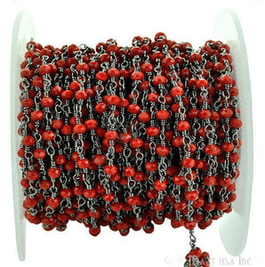 Red Coral 3-3.5mm Oxidized Plated Wire Wrapped Beads Rosary Chain