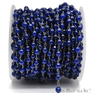 Dark Blue Jade Faceted Beads Oxidized Wire Wrapped Rosary Chain - GemMartUSA
