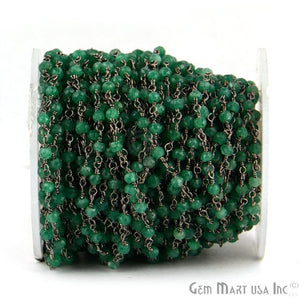 Dyed Emerald 3-3.5mm Oxidized Wire Wrapped Beads Rosary Chain - GemMartUSA