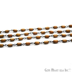 English Oak Wooden Beads Chain, Oxidized Wire Wrapped Rosary Chain - GemMartUSA