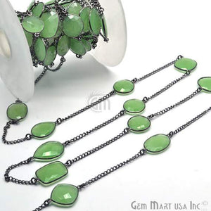 Green chalcedony 15mm Oxidized Bezel Link Connector Chain
