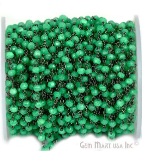 Green Chalcedony 3-3.5mm Oxidized Wire Wrapped Beads Rosary Chain