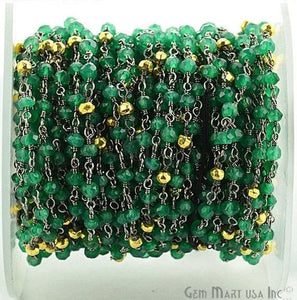 Green Onyx With Golden Pyrite 3-3.5mm Oxidized Wire Wrapped Beads Rosary Chain - GemMartUSA