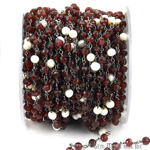 Garnet With Pearl 4mm Oxidized Wire Wrapped Beads Rosary Chain - GemMartUSA