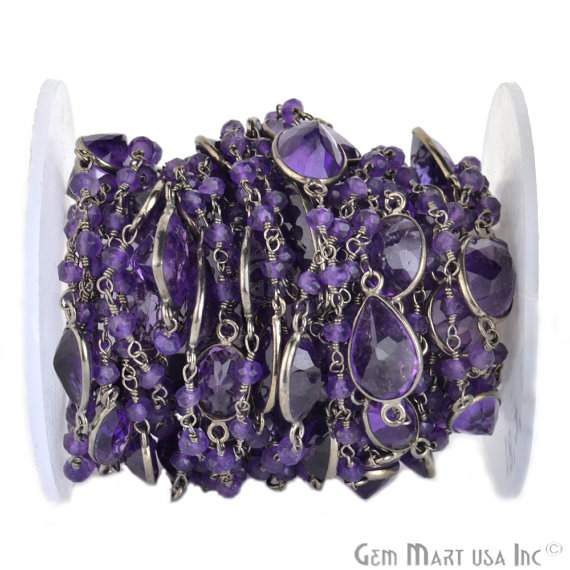 One Foot Beautiful Amethyst Rosary Connector Chain, 10mm Black Plated Connectors (Bpha-20015)