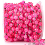 Hot Pink Jade 8mm Beads Chain, Black Plated wire wrapped Rosary Chain, Jewelry Making Supplies (BPHJ-30013)