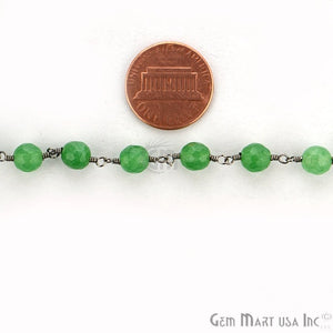 Jade Rosary 6mm Beads Oxidized Wire Wrapped Rosary Chain - GemMartUSA
