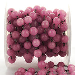 Strawberry Jade Faceted 10mm Beads Chain, Black Plated wire wrapped Rosary Chain, Jewelry Making Supplies (BPJS-30023)