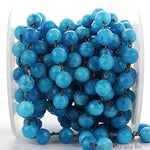 Turquoise Jade Faceted 10mm Beads Chain, Black Plated wire wrapped Rosary Chain, Jewelry Making Supplies (BPJT-30023)