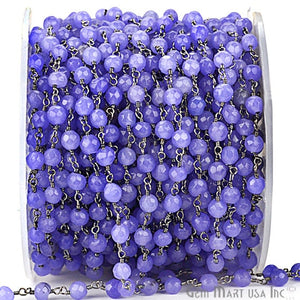 Tanzanite Jade 4mm Beads Oxidized Wire Wrapped Rosary Chain - GemMartUSA