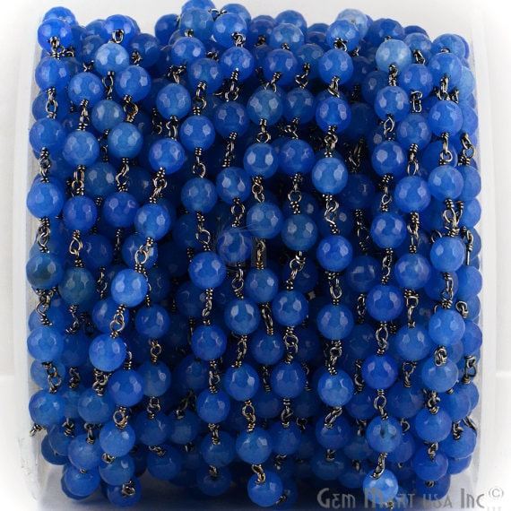 Sky Blue Jade 6mm Beads Chain, Black Plated wire wrapped Rosary Chain, Jewelry Making Supplies (BPKJ-30014)