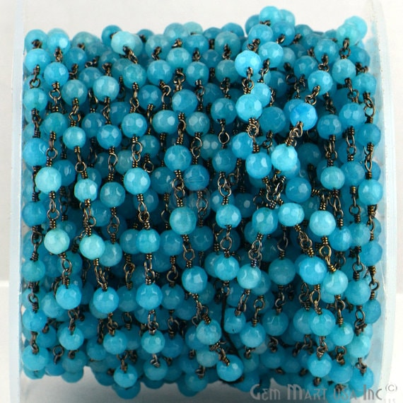 Sky Blue Jade 4mm Beads Chain, Black Plated wire wrapped Rosary Chain, Jewelry Making Supplies (BPKJ-30017)