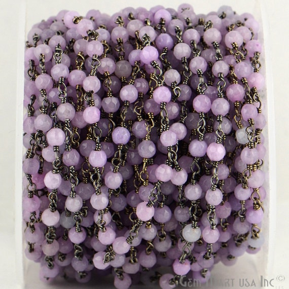 Light Lavender Jade 4mm Beads Chain, Black Plated wire wrapped Rosary Chain, Jewelry Making Supplies (BPLA-30017)