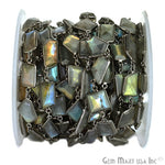 Labradorite Connector Chain, Black Plated Bezel Continuous Connector Chain, Jewelry Making Supplies (BPLB-20008)