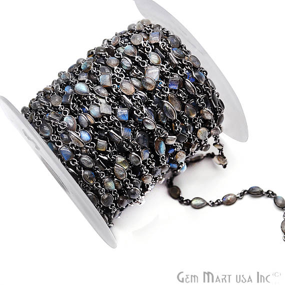 Labradorite Connector Chain, Black Plated Bezel Continuous Connector Chain, Jewelry Making Supplies (BPLB-20013)