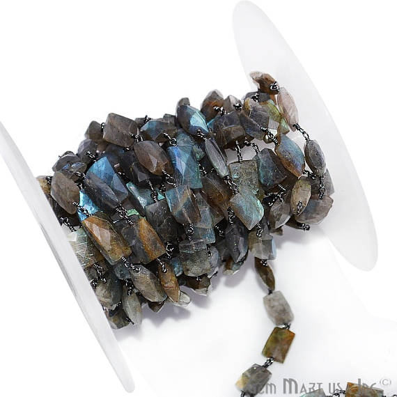 Labradorite Square Rondelle Beads Chain, Black Plated wire wrapped Rosary Chain, Jewelry Making Supplies (BPLB-30007)