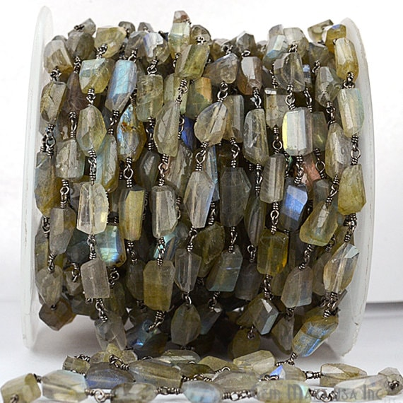 Labradorite Fancy Cut Beads Chain, Black Plated wire wrapped Rosary Chain, Jewelry Making Supplies (BPLB-30042)