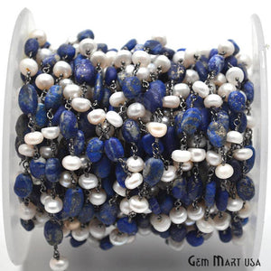 Lapis & Pearl Beads Chain, Oxidized Wire Wrapped Rosary Chain
