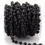 Lava 6mm Beads Chain, Black Plated wire wrapped Rosary Chain, Jewelry Making Supplies (BPLV-30051)