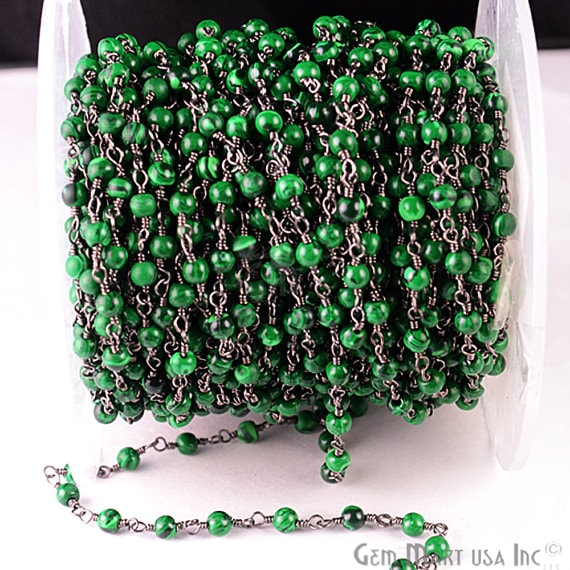 Malachite Smooth 3-3.5mm Oxidized Wire Wrapped Beads Rosary Chain